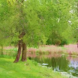A quiet hideaway by Sheri Zschocher - Landscapes Prairies, Meadows & Fields ( pastel, quiet place,  )