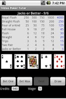 Screenshot of Video Poker Tutor