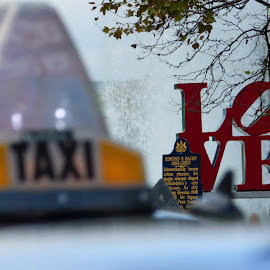 Love Park by Maricella Garcia - Landscapes Travel ( primary colors, love, taxi, park, pa, autumn, philly, fall, love park, travel, philadelphia, city )