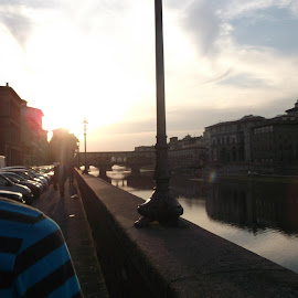 Florence by Marco Lorico-Rappa - City,  Street & Park  Vistas ( florence, sunset, bridge, italy, river )