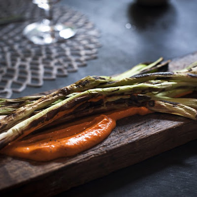 Grilled Scallions With Romesco Sauce