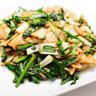 Bok Choy with Chives, Black Bean Sauce, and Chow Fun