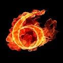 3D burning 6 icon