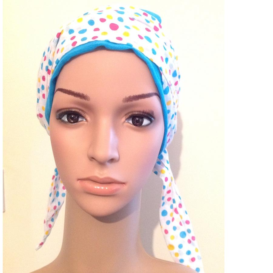 Blue gauze hat for hair loss