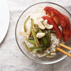 Rice Noodle Bowls with Cashew Sauce and Seared Tomatoes