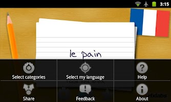 Screenshot of French Flashcards
