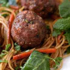 Turkey Meatballs with Asian Style Noodles