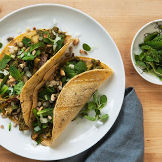 Tripe Tacos in Herbal Tomatillo Sauce with Toasted Seeds and Nuts
