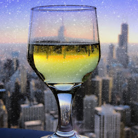 Riding the Storm Out Happy Hour by Tricia Scott - Food & Drink Alcohol & Drinks ( happy hour, sky, snow, obseratory, snow storm, chicago, bar, storm, stormy, weather )