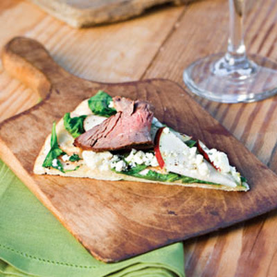 Grilled Pizza With Steak, Pear, and Arugula