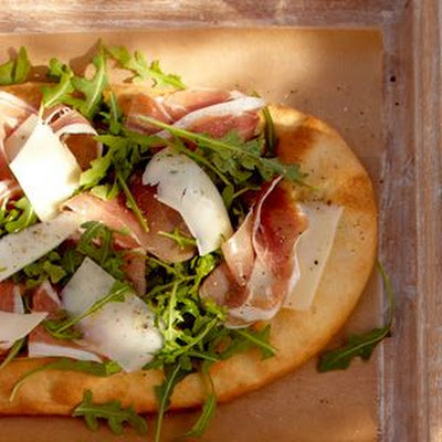 Flatbread with Serrano Ham, Petit Basque and Arugula
