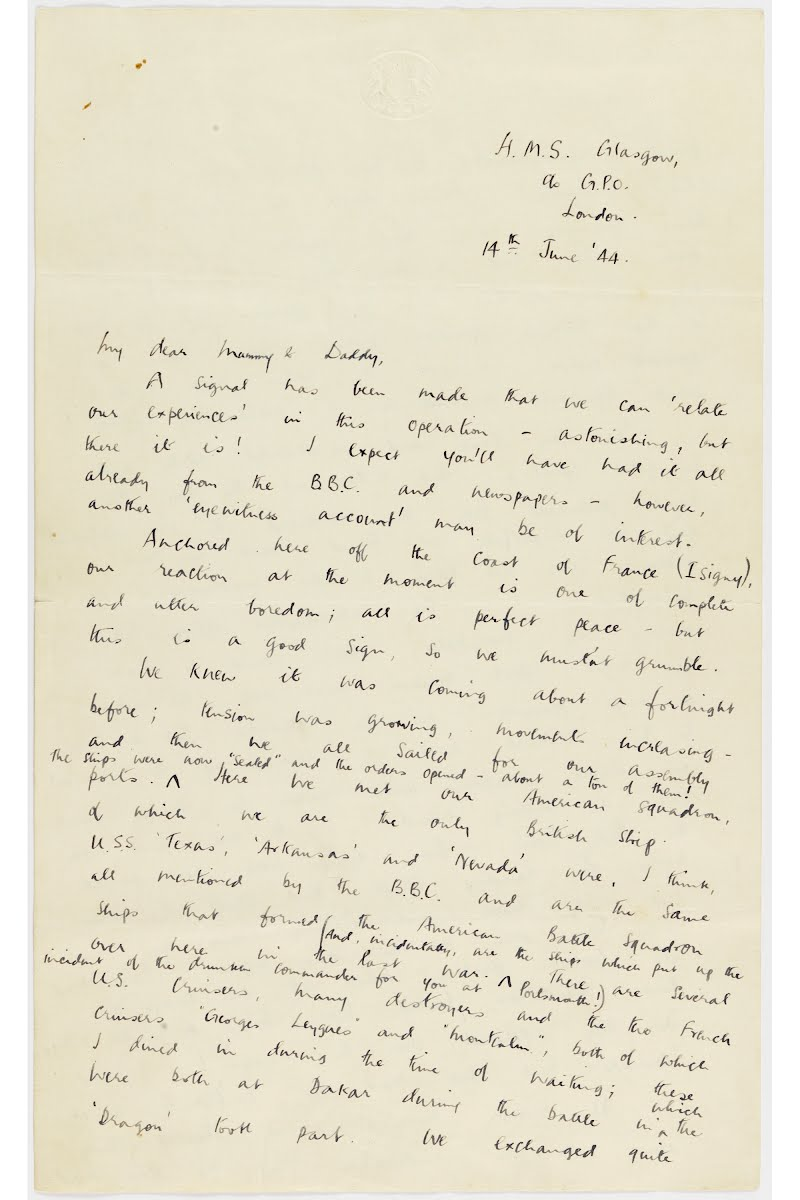 Letter written by Lieutenant (Torpedo) Officer R MacNab