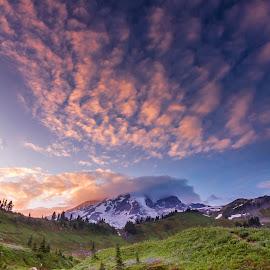 On Fire by Christian Flores-Muñoz - Landscapes Mountains & Hills ( clouds, mount, sunset, creeks, rainier, flowers, myrtle creek )