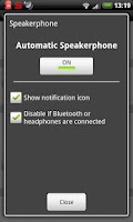Screenshot of Auto Speakerphone