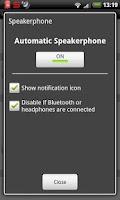 Screenshot of Auto Speakerphone