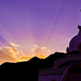 Sunset at Shanti Stupa, Ladakh by Debanjan Das - Buildings & Architecture Places of Worship ( sunset, ray of light, architecture, ladakh, stupa )