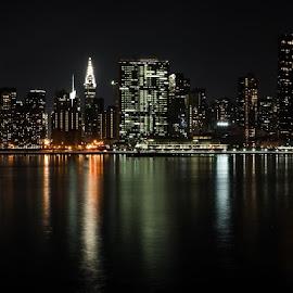 "New York City Panorama by Lukas Dreser - City,  Street & Park  Skylines ( reflection, ""long exposure, ripples, buildings, night, cityscape, new york, nyc, panoramic, panorama, city,  )"