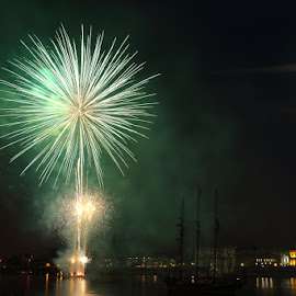 Fireworks and Full Moon at Greenwich Tall Ships Festival by Bill Green - News & Events Entertainment ( london, fireworks, supermoon, greenwich )