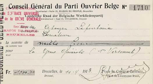 Receipt for the amount of 1000 francs given by La Fontaine  to support the General Strike for Universal Suffrage of 1913