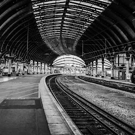 Railway Track by Havneet Singh - Transportation Railway Tracks ( railway, black and white, station, york, transportation, nikon, united kingdom,  )