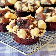 Double Chocolate Cherry Crumble Muffins