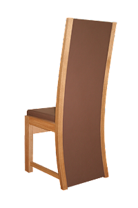 Rear view of a Upholstered Dining Chair in American Black Walnut