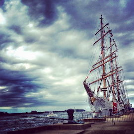 year celebration by Lori Ellen - Instagram & Mobile iPhone ( 100, capecod, canal, capecodcanal, morgan, ship, vessel, buzzardsbay, waterscape, pirateship, pirate, mma, massmaritimeacademy )