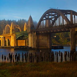 Sunrise Bridge by Ken McDougal - Buildings & Architecture Bridges & Suspended Structures ( famous bridges, bridges in oregon, landmark bridges, siuslaw river bridge, west coast bridges )