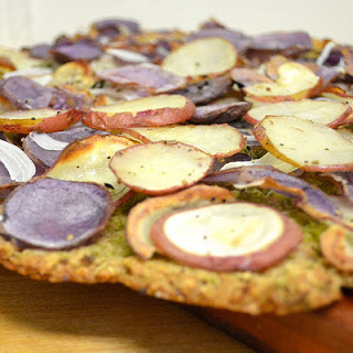 Potato Pizza With Garlic Scape Pesto On A Gluten-free Oat + Zucchini Crust