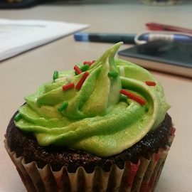 Holiday cupcake by Carmina Luna - Food & Drink Cooking & Baking ( gift, cupcake, sweet, green, dessert )