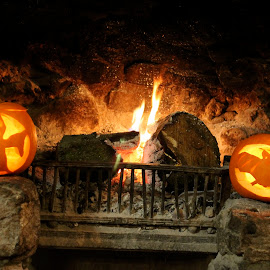 Fireplace Pumpkins by Janet Parsons - Novices Only Objects & Still Life ( carved, orange, pumpkin, carving, bat, ghost, fireplace, lanterns, halloween, flame )