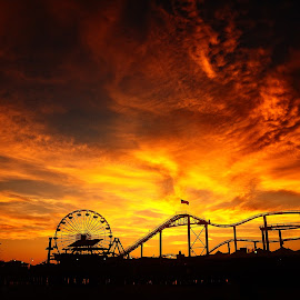 L.A Sunset by Nguyen Kien - City,  Street & Park  Amusement Parks ( amusement park, silhouette, sunset, los angeles )