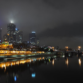 South Yarra, Melbourne by Bevin Pavithran - Buildings & Architecture Public & Historical ( clouds, melbourne, station, beautiful, lake, citylights, city, lights, south yarra, beautiful night, fog, australia, flinders, victoria, night, light, mist )
