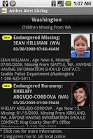 Screenshot of Amber Alert