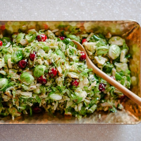 Warm Brussel Sprout & Cranberry Slaw
