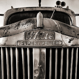 White SuperPower by Julie Dant - Transportation Automobiles ( black and white images, white trucks, antique trucks, white superpower, nostalgia, antiques )