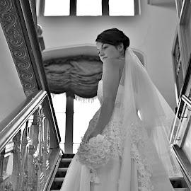 Ascending by Melanie Pista - Wedding Bride ( blackandwhite, stairs, window, lines, bride, vertical lines, pwc )