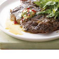 BBQ steak with roasted red pepper, lime and chives recipe