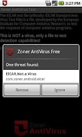 Screenshot of Zoner AntiVirus Test