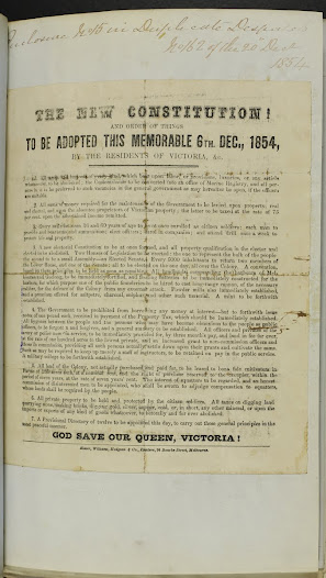 "This draft constitution is an interesting hybrid of early French revolutionary and radical ideas: needless to say, it was never put into operation. <a href=""http://wiki.prov.vic.gov.au/index.php/Eureka_Stockade:New_Constitution_recommended_from_the_people_of_Victoria"">Click here to see more of this record on our wiki</a>"