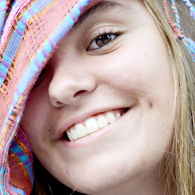 Bright Smile by Cassidy Meade - People Portraits of Women ( girl, autumn, woman, coor, fall, candid, smile, scarf, portriat )