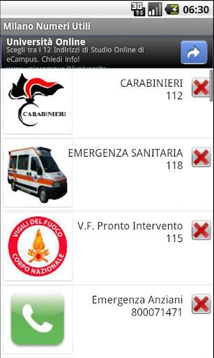 Milano usefull phone Num. FREE