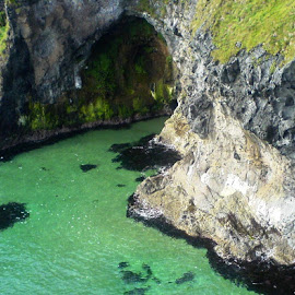 Tropical Ireland by Shona McQuilken - Landscapes Caves & Formations ( water, green, carrick-a-rede, northern ireland, rock, cave )