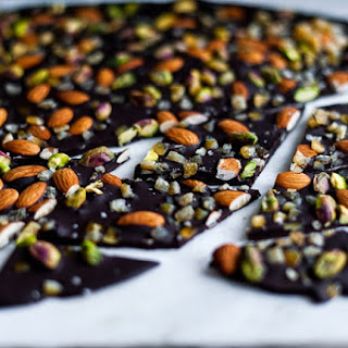 Salt-Kissed Dark Chocolate Bark with Candied Orange, Almonds and Pistachios