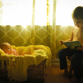 Storytime by Julianne Cyr - Babies & Children Children Candids ( sister, story, brother )