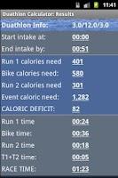 Screenshot of Triathlon Calculator
