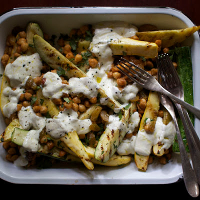Grilled Summer Squash with Charred Chickpeas, Raisins + Garlic-Yogurt Sauce
