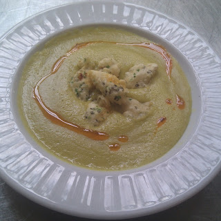 Summer Sweet Corn Bisque with Tempura Blue Crab and Cayenne Oil