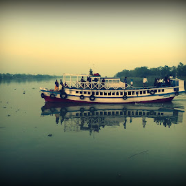 Crossing the River by Udayan Bhattacharyya - Transportation Boats