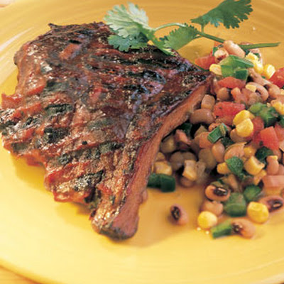 Barbecued Ribs with Corn and Black-Eyed-Pea Salad